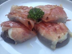 Auberginerolletje met rauwe ham